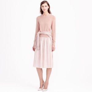 J.Crew Pink Midi Metallic Pleated Skirt